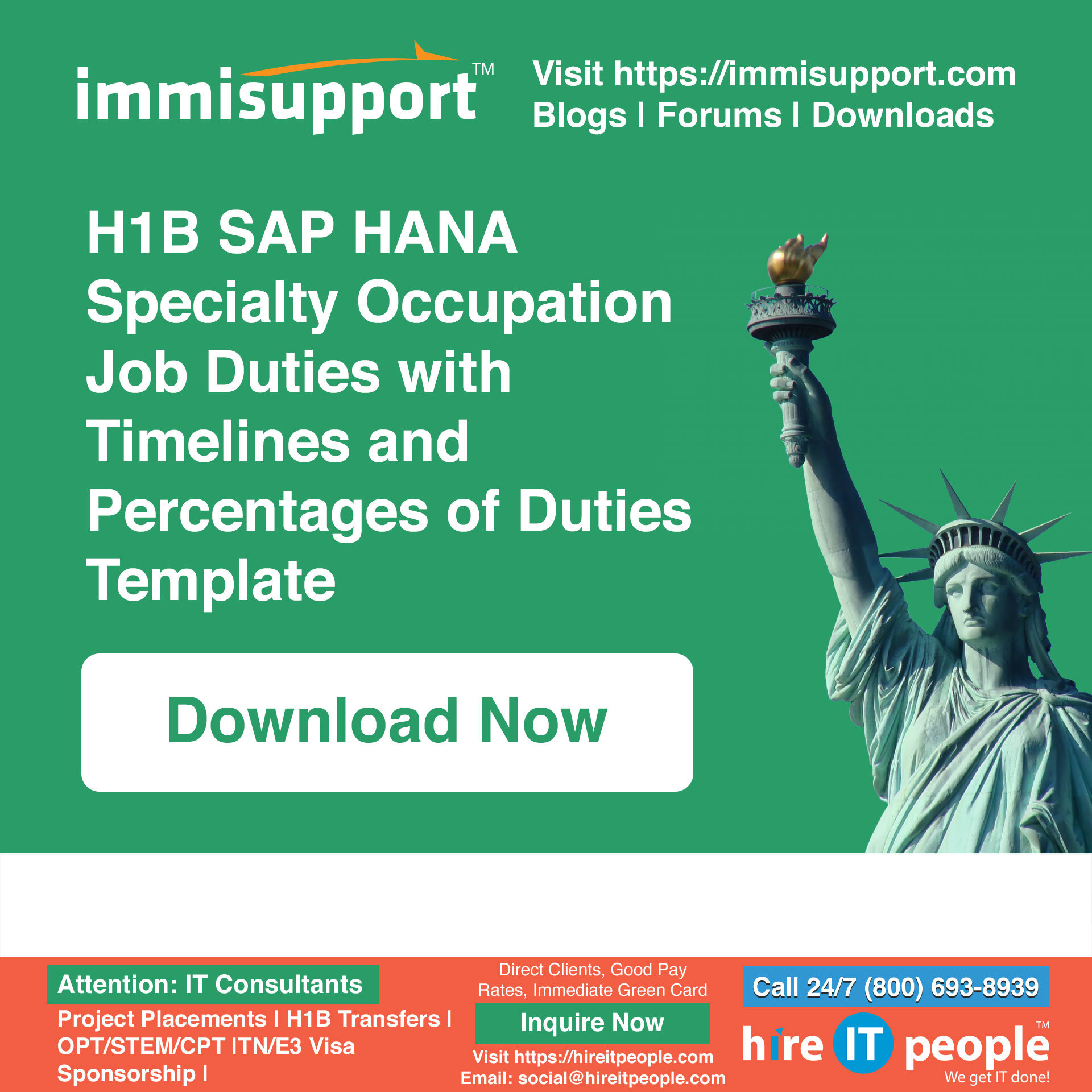 H1B SAP HANA Job Duties with Timelines and Percentages of Duties