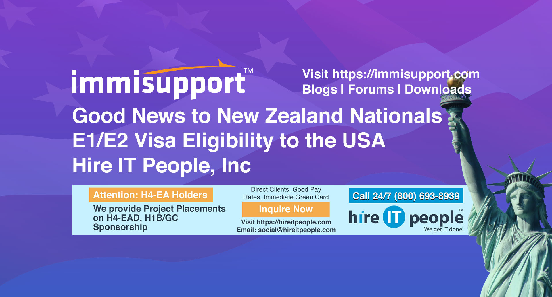 Good News to New Zealand Nationals E1/E2 Visa Eligibility to the USA