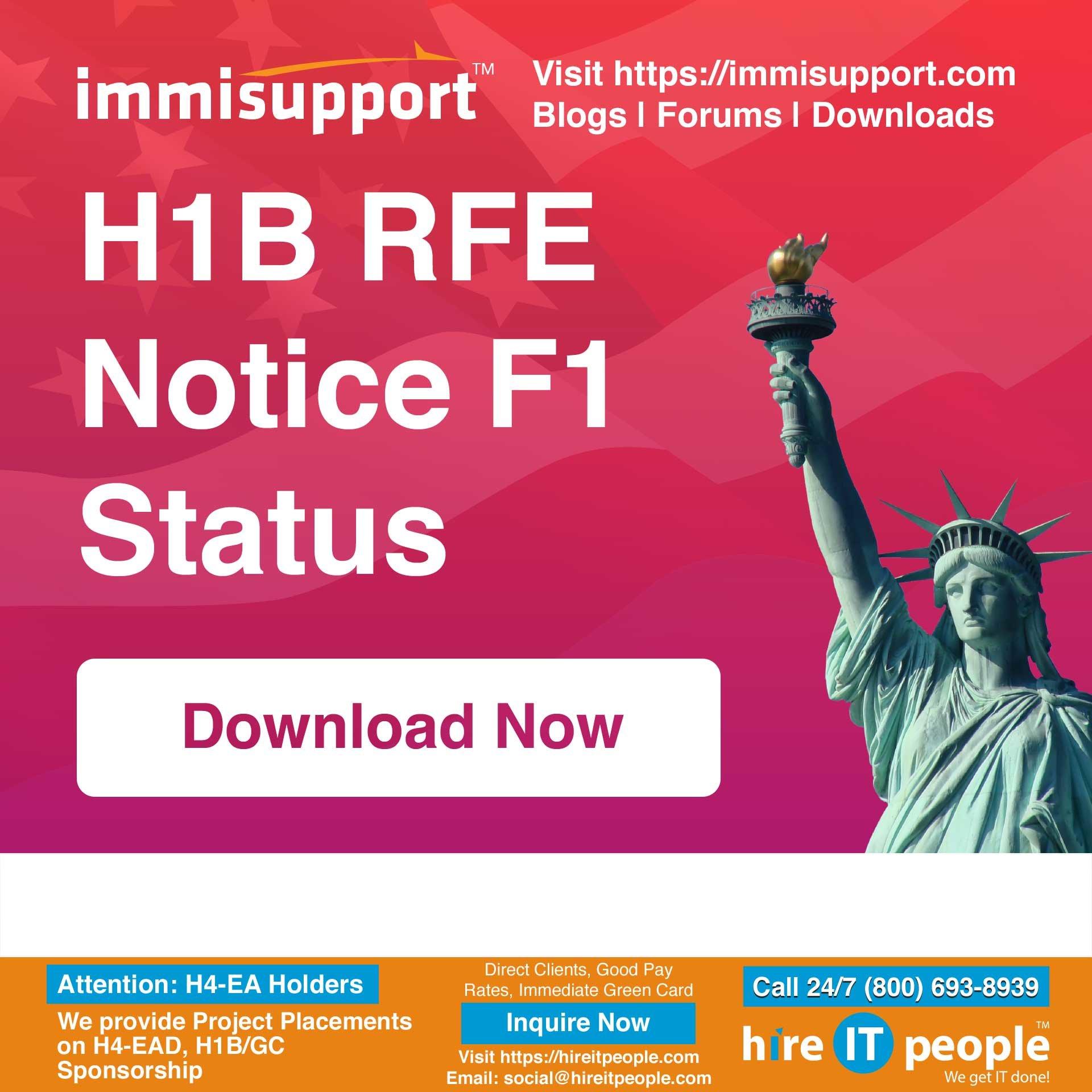 H1B RFE Notice F1 Status