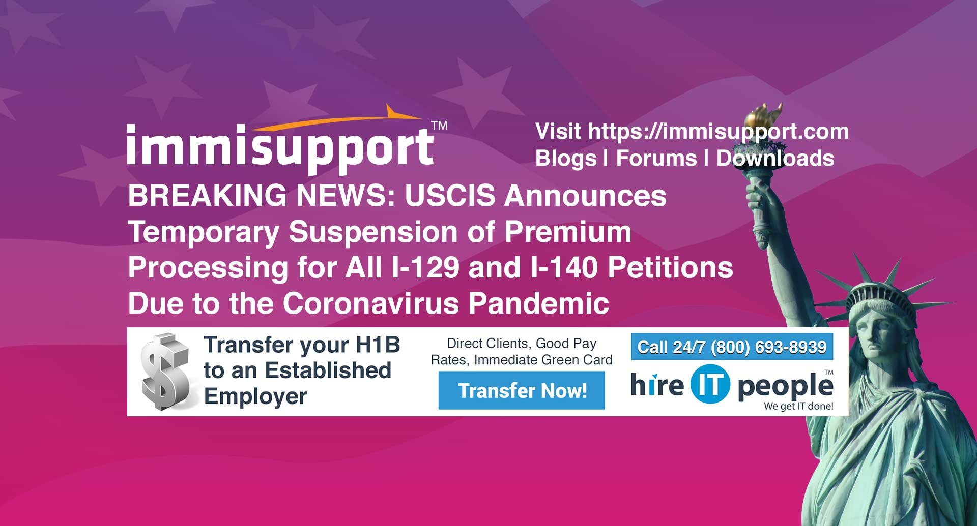 BREAKING NEWS: USCIS Announces Temporary Suspension of Premium Processing for All I-129 and I-140 Petitions Due to the Coronavirus Pandemic